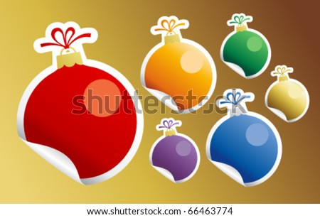 Stickers in form of Christmas Ball Toy. - stock vector