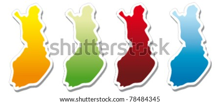 stickers in form of Finland - stock vector