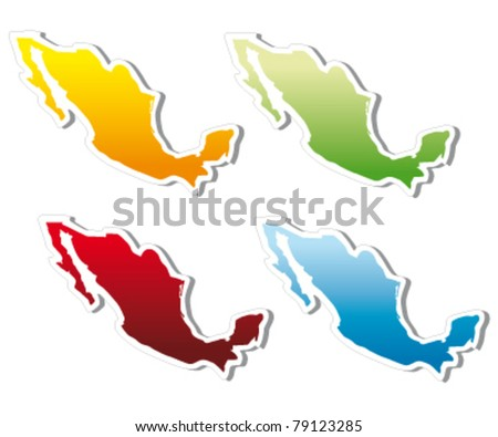 stickers in form of Mexico - stock vector