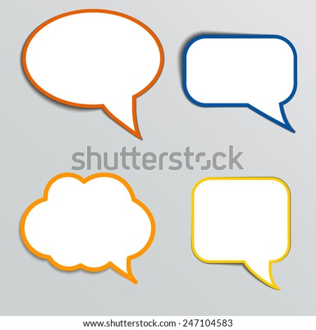 Stickers in form of speech bubbles. Vector illustration. - stock vector