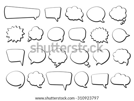 Stickers of speech bubbles vector set - stock vector