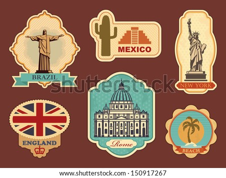 Stickers of travel: Brazil, Mexico, New York, England, Rome - stock vector
