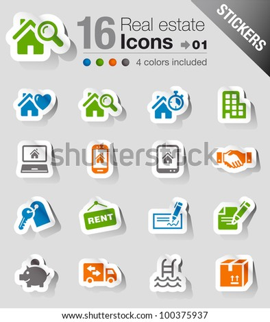 Stickers - Real estate icons - stock vector