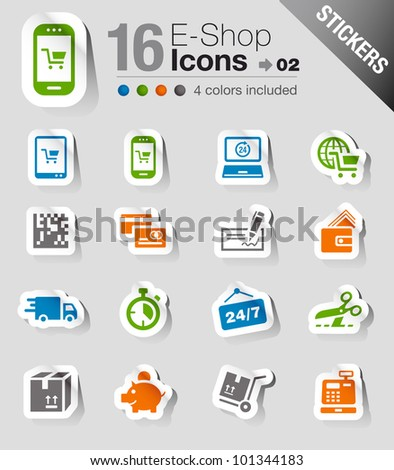 Stickers - Shopping icons - stock vector