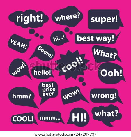 stickers, speech, bubbles, greetings icons, signs, illustrations set, vector - stock vector