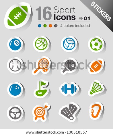 Stickers - Sport icons - stock vector