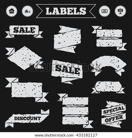 Stickers, tags and banners with grunge. For sale icons. Real estate selling signs. Home house symbol. Sale or discount labels. Vector - stock vector