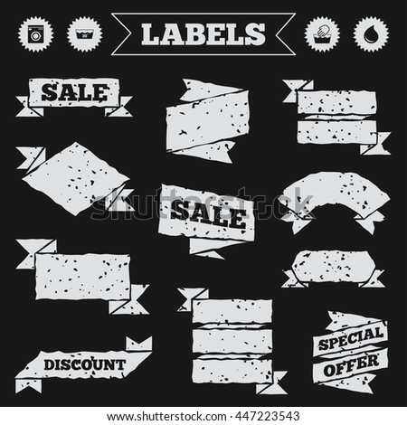 Stickers, tags and banners with grunge. Hand wash icon. Machine washable at 30 degrees symbols. Laundry washhouse and water drop signs. Sale or discount labels. Vector - stock vector