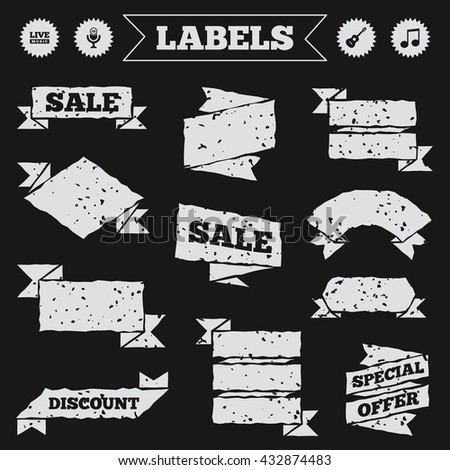 Stickers, tags and banners with grunge. Musical elements icons. Microphone and Live music symbols. Music note and acoustic guitar signs. Sale or discount labels. Vector - stock vector