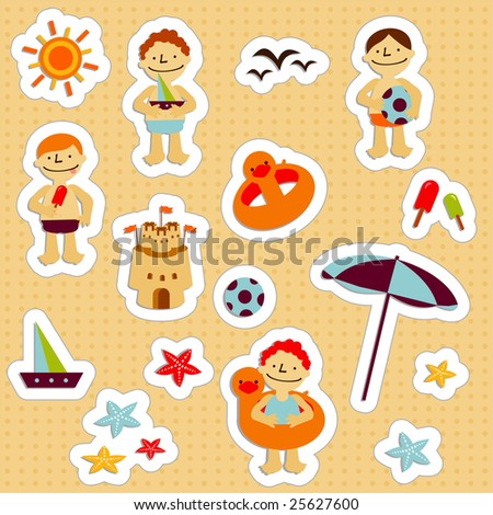 Stickers with elements of kids summer holidays, with toys, balls, gulls, sea star, sand castle, boats, save lifes, sun and ice cream - stock vector