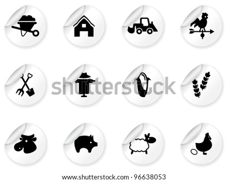 Stickers with farming icons - stock vector