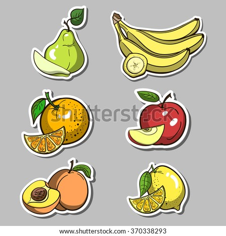 Stickers With Fruits Set - stock vector
