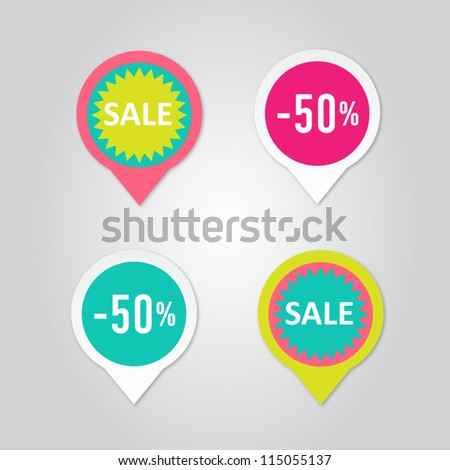 Stickers with sale messages - stock vector