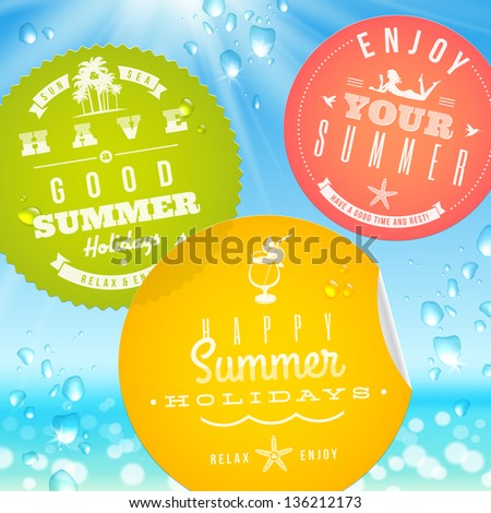 Stickers with summer vacation and travel emblems on a glass against a sunny seascape - vector illustration. (elements outside of the art-board is not cut off - they with clipping mask) - stock vector