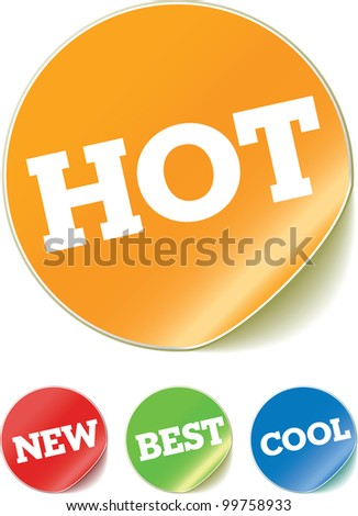 stickers with text - stock vector