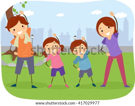 Stickman Illustration of a Family Exercising Together - stock vector