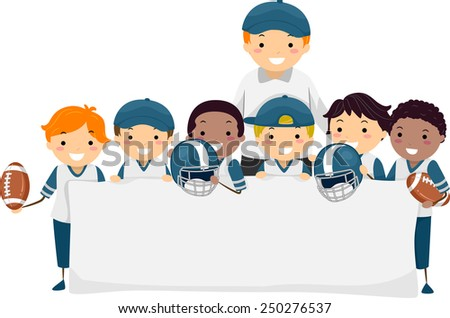 Stickman Illustration of Boys in Football Gear Holding a Banner - stock vector