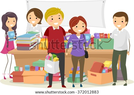 Stickman Illustration of Customers Buying Books at a Book Sale - stock vector