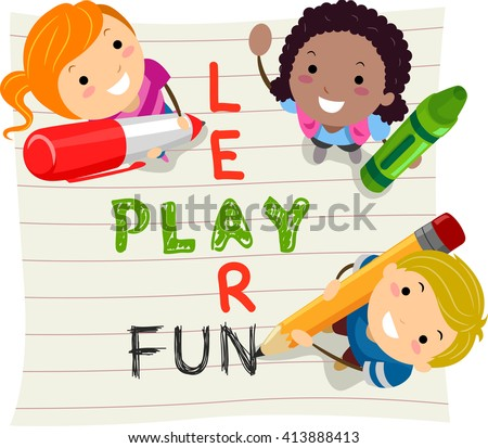 Stickman Illustration of Kids Having Fun While Learning - stock vector