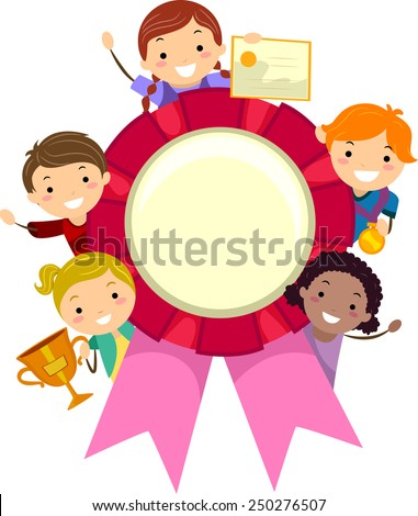 Stickman Illustration of Kids Holding Different Awards - stock vector