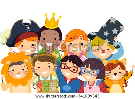 Stickman Illustration of Kids in Wacky Costumes Taking a Group Photo - stock vector