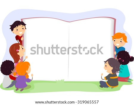 Stickman Illustration of Kids Opening a Giant Book - stock vector