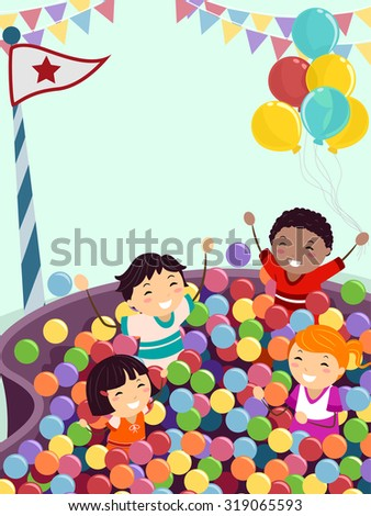 Stickman Illustration of Kids Playing Happily in a Ball Pit - stock vector