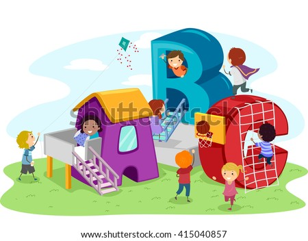 Stickman Illustration of Kids Playing in the Playground - stock vector