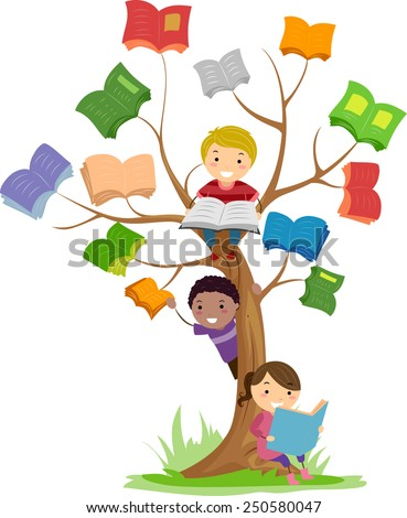 Stickman Illustration of Kids Reading Books Growing Off a Tree - stock vector