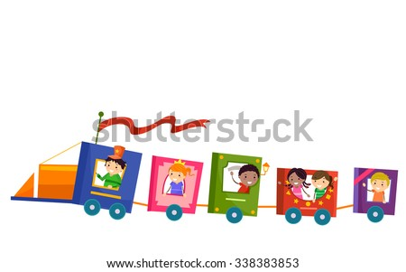 Stickman Illustration of Kids Riding a Train Made from Books - stock vector