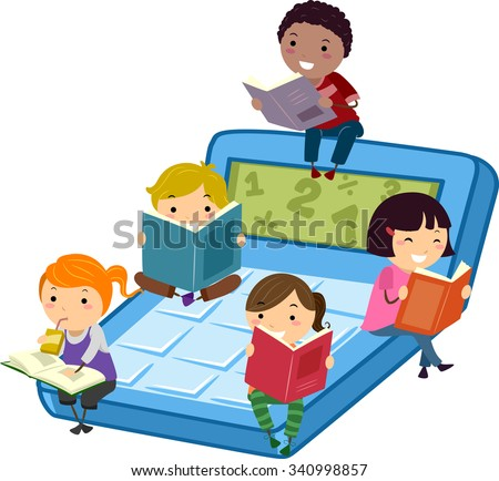 Stickman Illustration of Kids Sitting on a Calculator Reading Math Books - stock vector