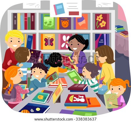 Stickman Illustration of Parents Helping Their Kids Choose Books in a Bookstore - stock vector