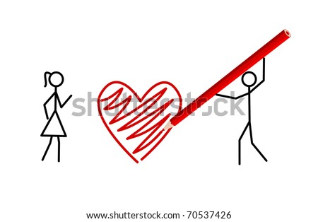 Stickman's valentine - Two stickmans in love draw a heart with a crayon (raster version also available) - stock vector