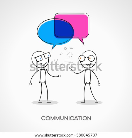 Stickman with speech bubbles. Doodle vector illustration. Communication concept. The file is saved in the version 10 EPS.  - stock vector