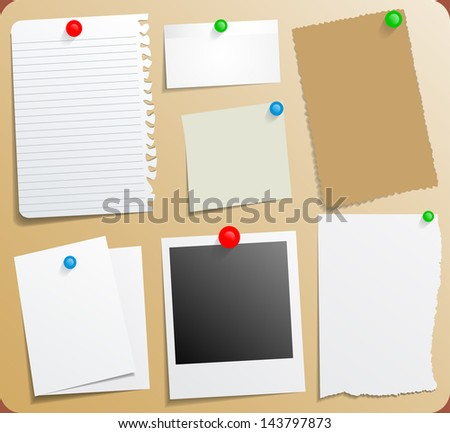 Sticky Notes set on message board eps10 - stock vector