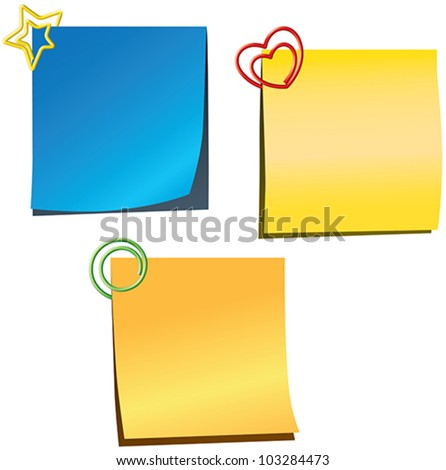 Sticky notes with paperclips - stock vector