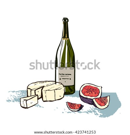 Still life hand drawn food illustration with red wine, cheese and pomegranate. Can be used as illustration for restaurant menu, magazine article about food, flyer, postcard, placemats. - stock vector