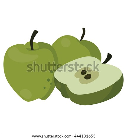 Still life of three juicy green apples, for flat style icons. For your convenience, each significant element is in a separate layer - stock vector