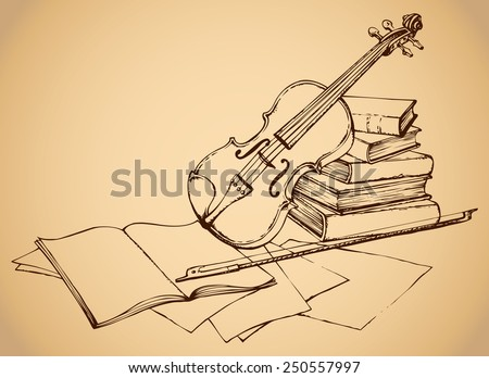 Still life of violin on old books and pages with notes. Vector monochrome freehand sketchy ink outline drawn backgdrop in antiquity engraving style with space for text - stock vector