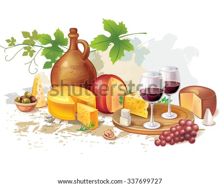 Still life of wine, cheese and grapes - stock vector
