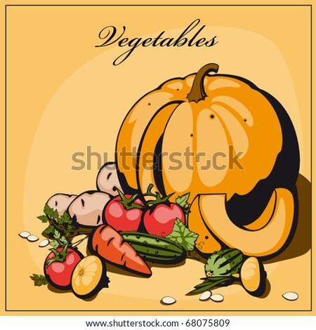 still life vegetables. Vector. multicolor - stock vector