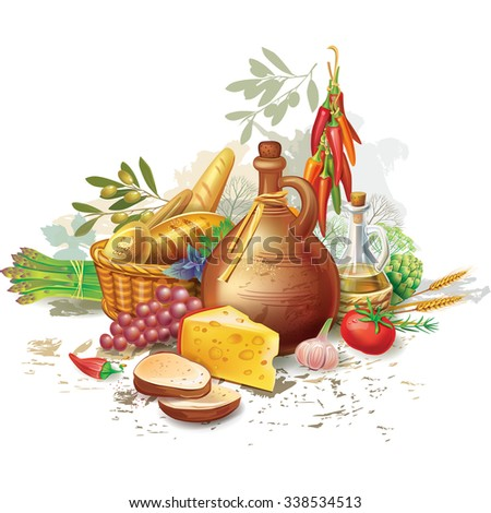 Still life with country food - stock vector