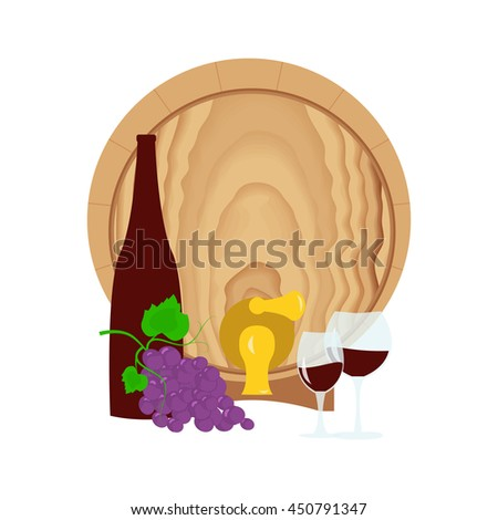 Still life with grapes, barrel, bottle and glass of wine. Suitable for Invitation of tasting events or wine presentation. Flat design background. Vector eps10 - stock vector