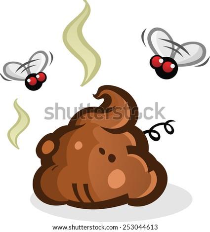 Stinky Poop Pile with Flies Cartoon - stock vector