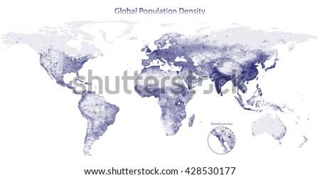 Stippled vector map of global population density - stock vector