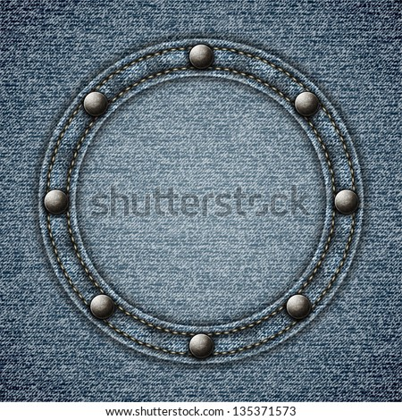 Stitched denim background with round riveted copyspace -eps10 - stock vector