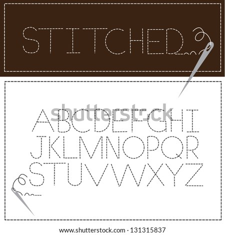 Stitched Font Alphabet A through Z. EPS 8 vector, grouped for easy editing. No open shapes or paths. - stock vector
