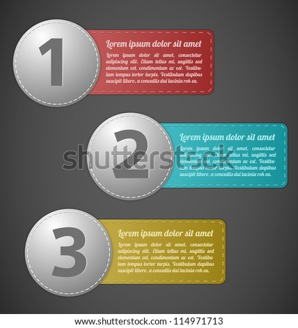 Stitched labels with text field - stock vector