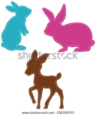 stitches on deer and easter bunnies - stock vector