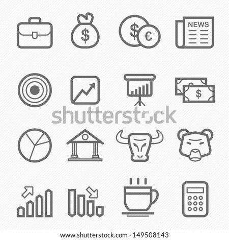 stock and market symbol line icon on white background vector illustration - stock vector